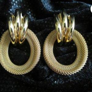 Vintage Givenchy Mesh Door Knocker hoop Earrings